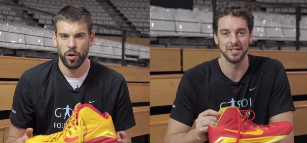 Pau Gasol and Marc Gasol will auction the sport shoes they will use at the 2014 Basketball World Championship .