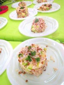 Lentejas con arroz, calabacín y cebolla